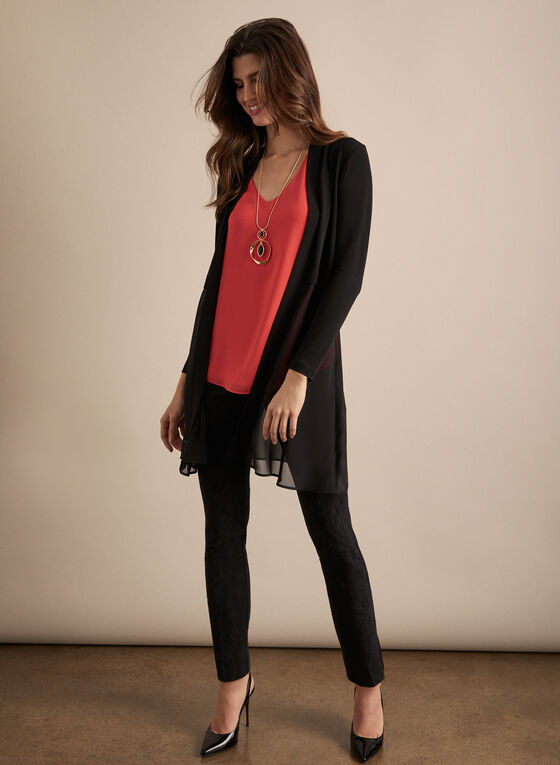 Open Front Chiffon Tunic , Black