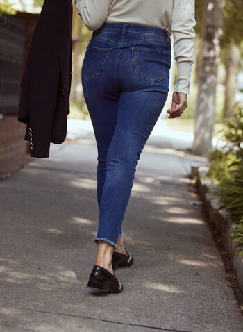 Frayed Hem Slim Leg Jeans, Blue,  fall winter 2021, jeans, denim, pants, bottoms, slim leg, mid rise, 5 pocket, belt loops, frayed hem, fringe, stretch denim