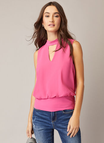 Sleeveless Choker Neck Top, Red,  fall winter 2020, top, blouse, choker neck, chiffon, sleeveless, made in canada