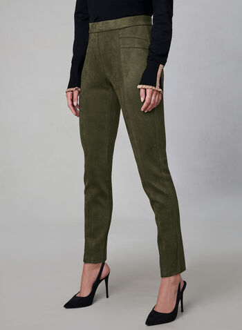 Faux Suede Leggings, Green,  fall winter 2019, faux suede, slim leg, leggings, pull-on