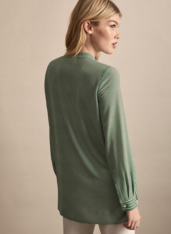 Blouse motif géométrique à manches longues, Vert