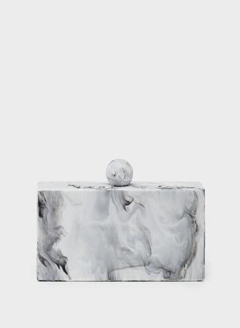 Pochette effet marbre à fermoir sphère, Blanc, hi-res