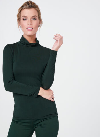 Vex -  Cotton Blend Funnel Neck Top, Green, hi-res