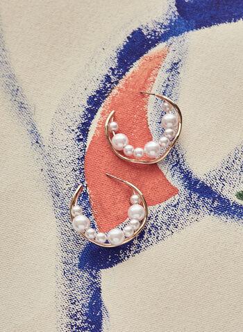 Boucles d'oreilles vaguées à perles , Blanc cassé,  printemps été 2021, bijoux, accessoires, boucles d'oreilles, doré, vagues, ouvertes, perles, grappes