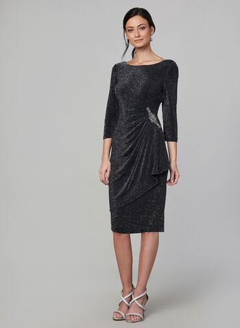 Alex Evenings - Glitter Sheath Dress , Black,  dress, sheath, glitter, boat neck, 3/4 sleeve, open back, embellished brooch, fall 2019