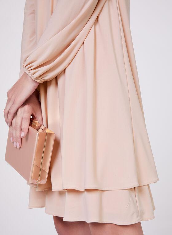 BA Nites - Beaded Neck Cold Shoulder Dress, Pink, hi-res