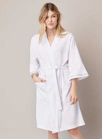 3/4 Sleeve Textured Robe , White,  fall winter 2020, robe, sleepwear, belt, knit fabric, embroidery