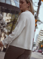 Funnel Neck Rib Knit Sweater, Off White
