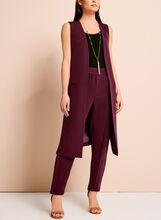 Long Open Front Side Cut Out Vest, , hi-res