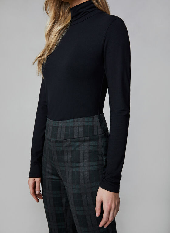 Madison Plaid Print Pants, Black