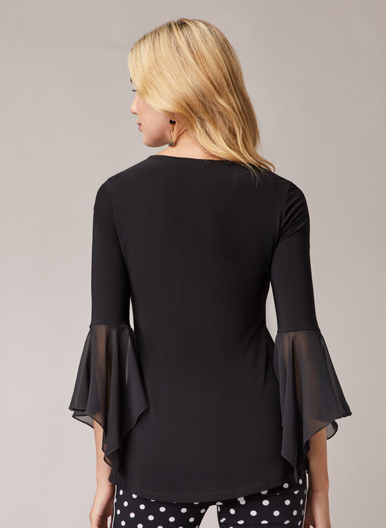 Flared Chiffon Sleeve Top, Black