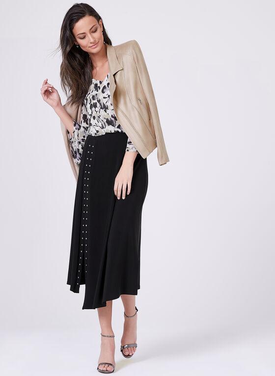 Studded Jersey A-Line Skirt, Black, hi-res