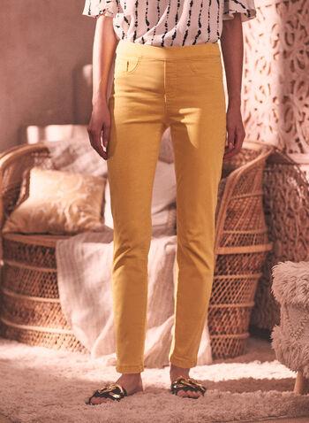 Charlie B - Bow Detail Pants, Gold,  spring summer 2021, pull on, fake pockets, decorative pockets,