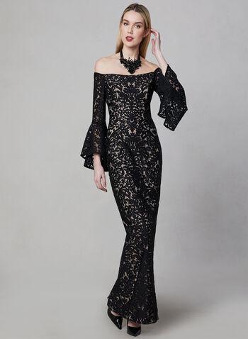 BA Nites - Burnout Velvet Gown, Black, hi-res
