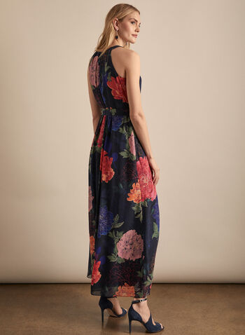 Floral Print Maxi Dress, Black,  spring summer 2020, sleeveless, halter neck, chiffon