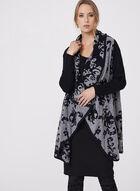 Cardigan ouvert motif en tricot doux et motif fleurs, Noir, hi-res