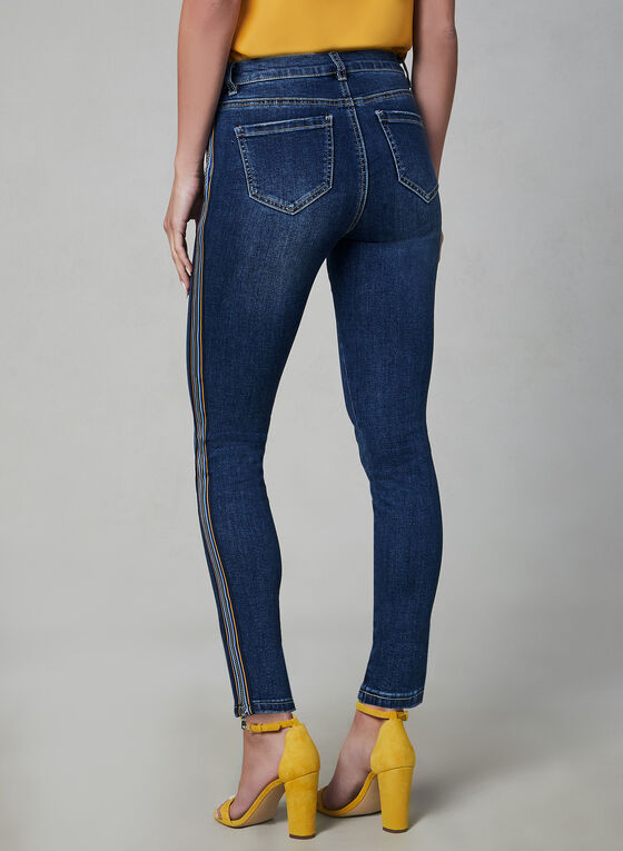 Jeans à jambe étroite et bandes colorées, Bleu