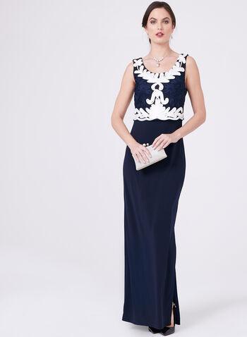 Frank Lyman – Floral Soutache Dress, Blue, hi-res
