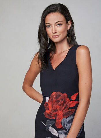 Frank Lyman - Floral Print Sheath Dress, Black, hi-res,  day dress, sleeveless, fall winter 2019, v-neck