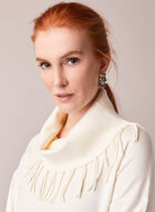 Fringed Cowl Neck Sweater, Off White