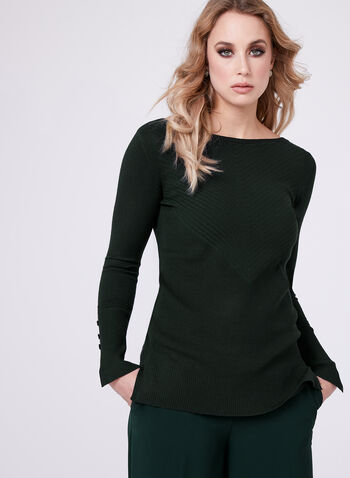 Boat Neck Chevron Knit Sweater, Green, hi-res