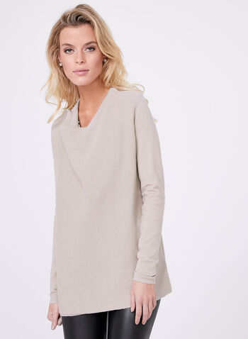 Ottoman Knit Cardigan, Off White, hi-res