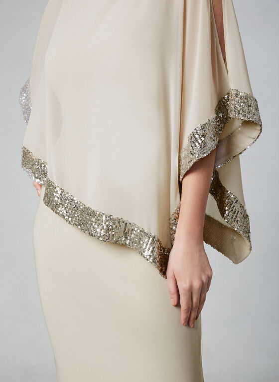 Frank Lyman - Chiffon Poncho Dress, Off White, hi-res