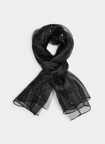 Metallic Silk Scarf, Black,  silk, metallic, beads, long scarf, fall 2019, winter 2019