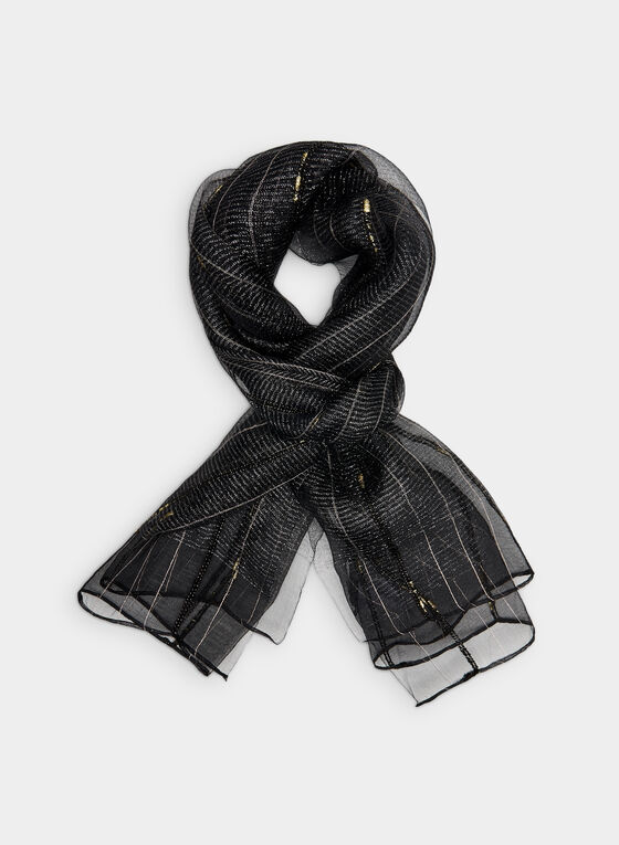 Foulard métallisé en soie, Noir