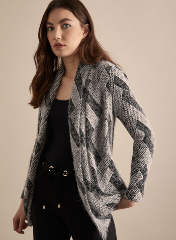 Frank Lyman - Open Front Geometric Print Top, Grey,  canada, open front, cardigan, sweater, knit, knit cardigan, top,