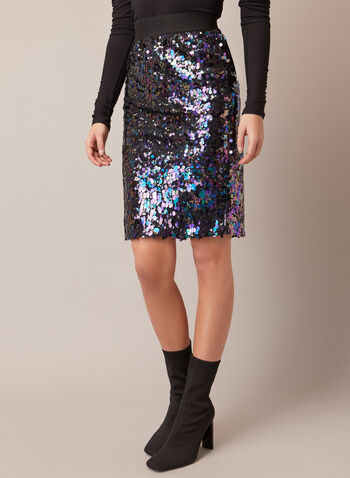 Pencil Skirt With Sequin, Black,  fall winter 2020, parties, sequins, shiny, sparkly, slip on, pull on, elastic, holiday, festive