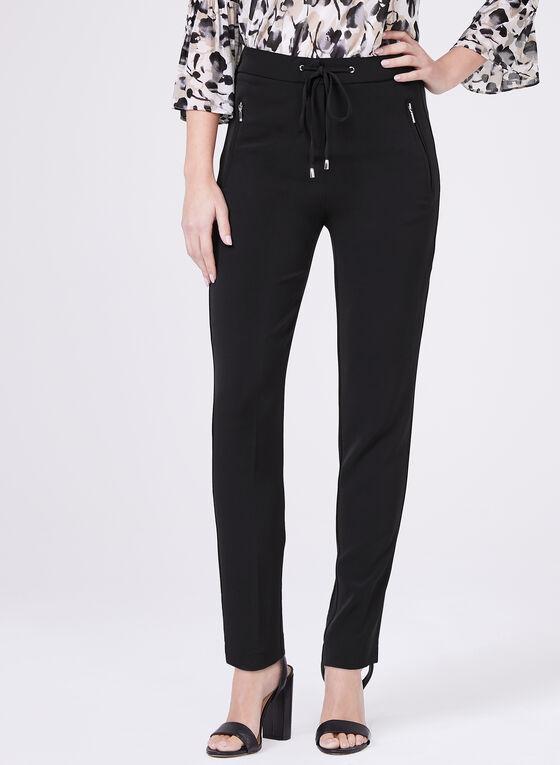 Straight Leg Drawstring Pants, Black