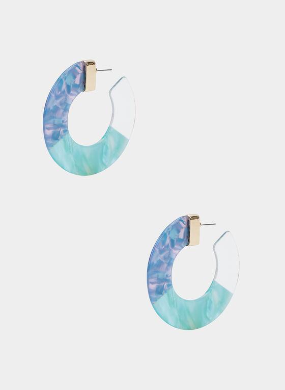 Tricolour Hoop Earrings, Blue, hi-res
