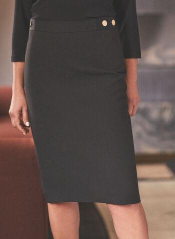 Button Detailed Pencil Skirt, Black,  skirt, pencil skirt, metallic, button, spring 2020, summer 2020