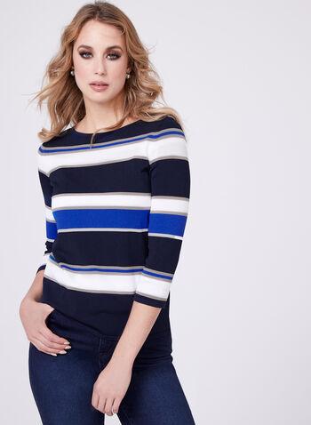 Pull tricot à rayures contrastantes, Bleu, hi-res