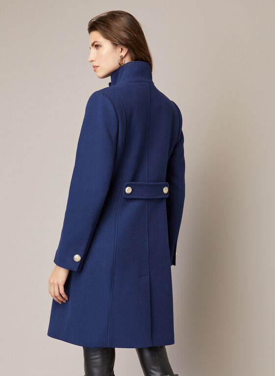 High Collar Wool Blend Coat, Blue