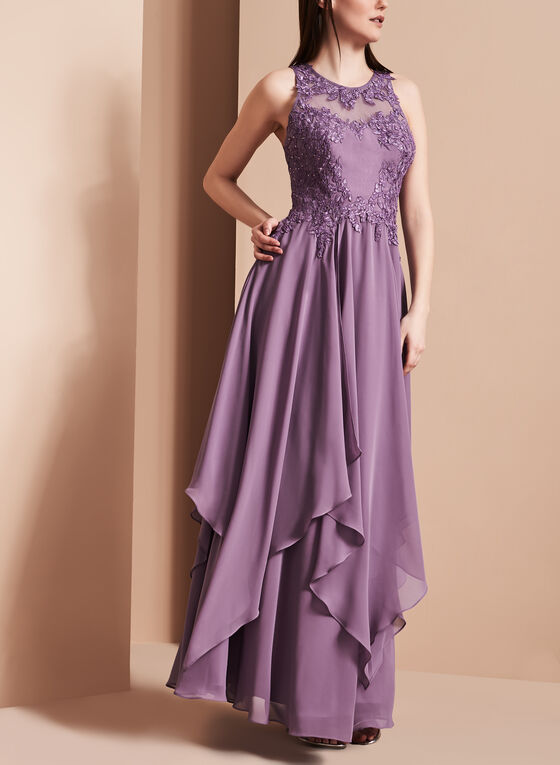 Decode 1.8 - Beaded Handkerchief Hem Gown, Purple, hi-res