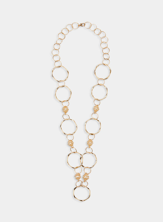 Long Hoop Necklace, Off White, hi-res