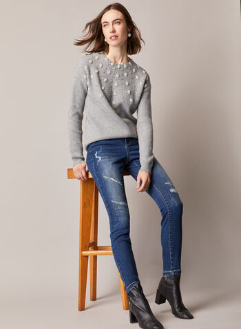 Pearl Detail Sweater, Grey,  fall winter 2020, pearl detail, crew neck, round neck, long sleeve, soft, comfort, warm, pullover