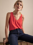 Sleeveless Crepe Blouse, Orange