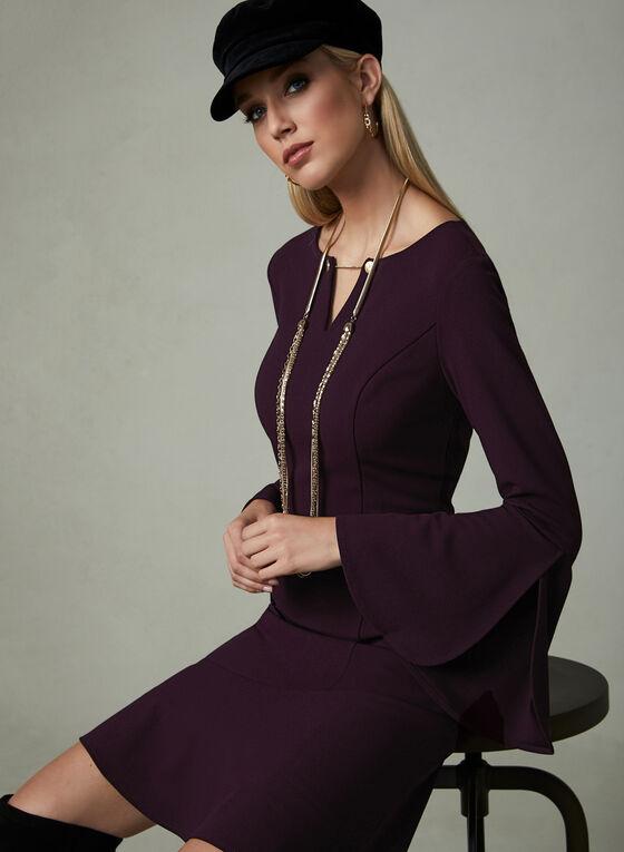 Ivanka Trump - Robe en crêpe à manches cloche, Violet, hi-res