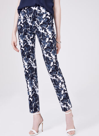 Pull-On Slim Leg Ankle Pants, Blue, hi-res