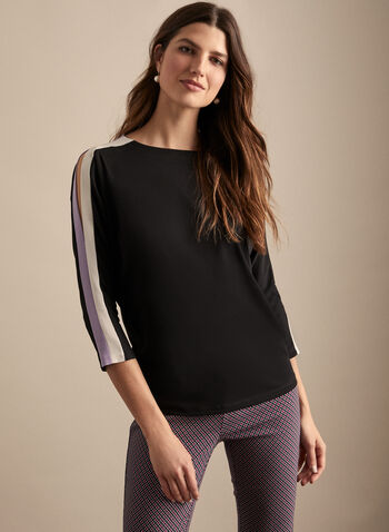 Peak-a-Boo Sleeve Top, Black,  spring summer 2020, 3/4 sleeves, dolman sleeves, stripe details, crepe fabric, peak-a-boo details, made in canada