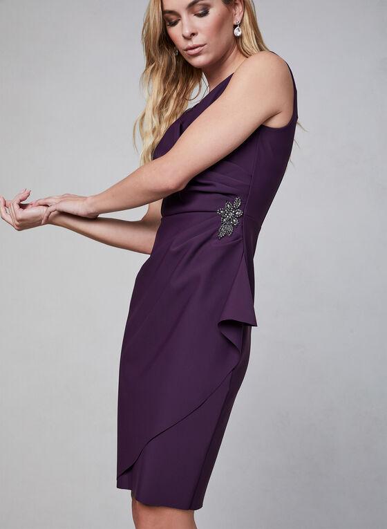 Alex Evenings - Robe courte à effet drapé, Violet, hi-res