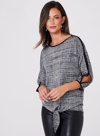 Abstract Print Tie Front Top , Grey, hi-res