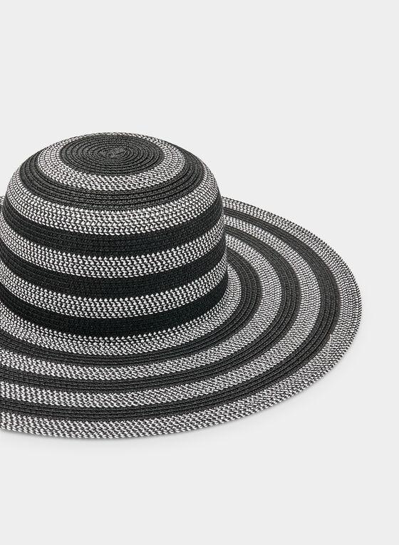 Two-Tone Straw Hat, Black, hi-res