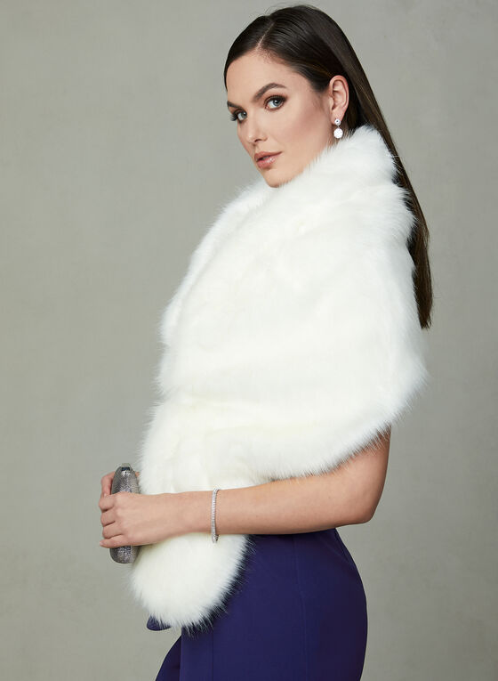 Faux Fur Stole, White, hi-res