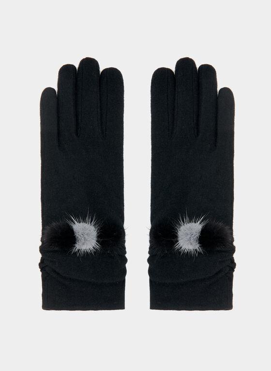 Gants en laine à détails pompons, Noir, hi-res