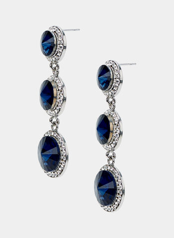 Tiered Crystal Dangle Earrings, Blue, hi-res
