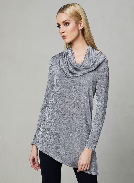 Cowl Neck Tunic Top, Grey